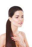 Красивая усмехаясь модель с совершенной кожей и длиной Стоковые Фотографии RF