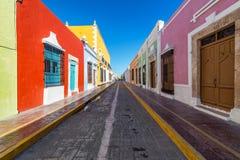 Красивая улица в Кампече, Мексика Стоковая Фотография