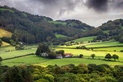 Красивая ферма между полями в Уэльсе Стоковые Фото