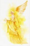 Красивая фея в желтом цвете Стоковое Изображение