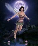 Красивая фея ночи перед полнолунием иллюстрация вектора