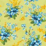 Красивая флористическая безшовная картина с незабудкой и мимозой Бесплатная Иллюстрация
