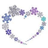 Красивая форма сердца сделанная из снежинок Стоковое фото RF