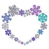 Красивая форма сердца сделанная из снежинок Стоковое Фото