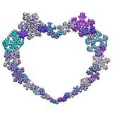 Красивая форма сердца сделанная из снежинок Стоковые Изображения