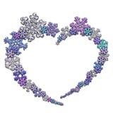 Красивая форма сердца сделанная из снежинок Стоковое Изображение