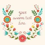 Красивая флористическая карточка венка Стоковая Фотография RF