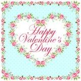 Красивая флористическая поздравительная открытка на день валентинки Стоковые Фото