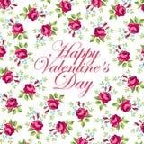 Красивая флористическая поздравительная открытка на день валентинки Стоковое Изображение RF
