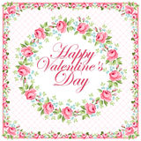 Красивая флористическая поздравительная открытка на день валентинки Стоковое Фото