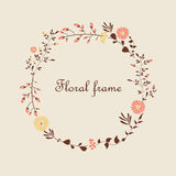 Красивая флористическая рамка Стоковое Изображение RF