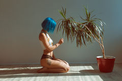Красивая худенькая девушка в трусах и футболке при голубые волосы представляя на поле рядом с цветком в баке стоковое изображение rf