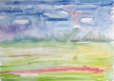 Красивая цветастая предпосылка акварели на бумаге Стоковые Фото