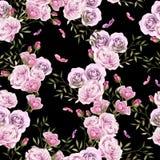 Красивая яркая красочная картина акварели с розовыми цветками Стоковые Фотографии RF
