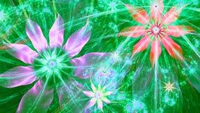 Красивая яркая яркая современная предпосылка цветка в сияющих зеленых, розовых, красных, голубых цветах Стоковое Изображение