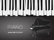 Красивая monochrome карта приглашения концерта рояля с простыми стилизованными клавиатурой рояля и чертежом плана рояля 3d иллюстрация вектора
