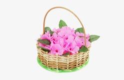 Красивая wattled корзина с искусственными цветками Стоковое Изображение RF