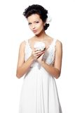 красивейшая белизна венчания девушки платья невесты Стоковые Фото