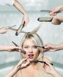 красивейшая белизна портрета волос девушки Стоковые Изображения RF