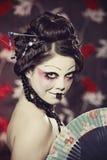 красивейшая белизна типа портрета девушки гейши Стоковые Фотографии RF
