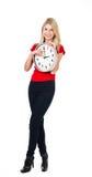 красивейшая белокурая девушка часов Стоковая Фотография RF
