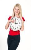 красивейшая белокурая девушка часов Стоковые Фотографии RF