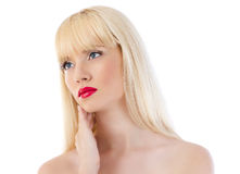 Красивейшая белокурая женщина с красными губами Стоковые Изображения