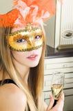 красивейшая белокурая маска venetian Стоковое Фото