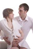 красивейшая беременная женщина человека Стоковые Фото