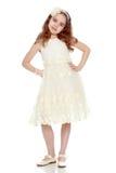красивейшая белизна девушки платья Стоковая Фотография RF