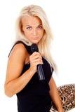 Красивейшая блондинка девушки с микрофоном Стоковая Фотография