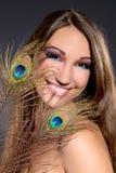 красивейшая голубая девушка платья брюнет Стоковое Изображение