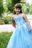 красивейшая голубая девушка платья Стоковое Фото