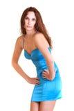 красивейшая голубая девушка способа платья Стоковые Изображения RF