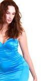 красивейшая голубая девушка способа платья Стоковые Фото