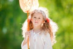 красивейшая девушка бабочки меньшяя сеть Стоковое Изображение