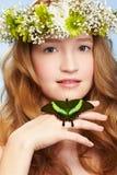 красивейшая девушка бабочки стоковые изображения rf