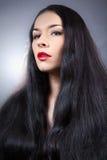 Красивейшая девушка брюнет. Здоровые длинние волосы. Стоковые Изображения