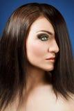 Красивейшая девушка брюнет. Здоровые длинние волосы Стоковое Изображение RF