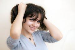 Красивейшая девушка волос Брайна стоковое изображение rf
