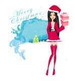 Красивейшая девушка в costume рождества бесплатная иллюстрация