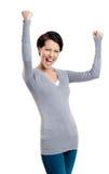 Красивейшая девушка да gesturing счастлива стоковое изображение