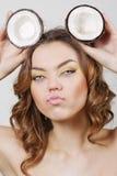красивейшая девушка кокоса Стоковое Фото