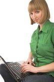 красивейшая девушка компьютера стоковые фотографии rf