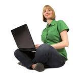 красивейшая девушка компьютера стоковое изображение rf