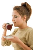 красивейшая девушка кофейной чашки стоковые фотографии rf
