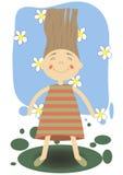 Красивейшая девушка на предпосылке цветков Стоковое Фото