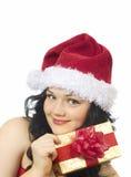 красивейшая девушка подарка коробки Стоковая Фотография