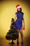 красивейшая девушка рождества около вала Стоковые Фото