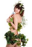красивейшая девушка цветка бабочки Стоковое Изображение